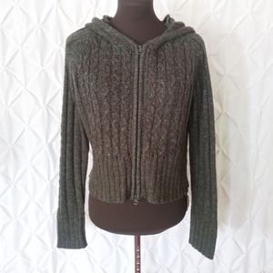 Full zip forest green sweater hoodie